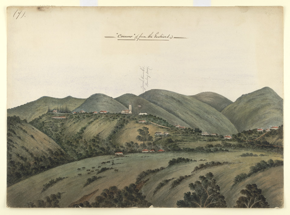 Hilly landscape with bungalows and church, Coonoor 2315